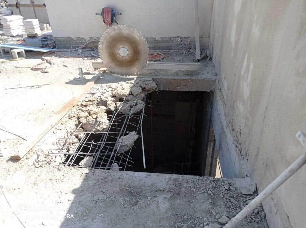 תהליך חיתוך בטון